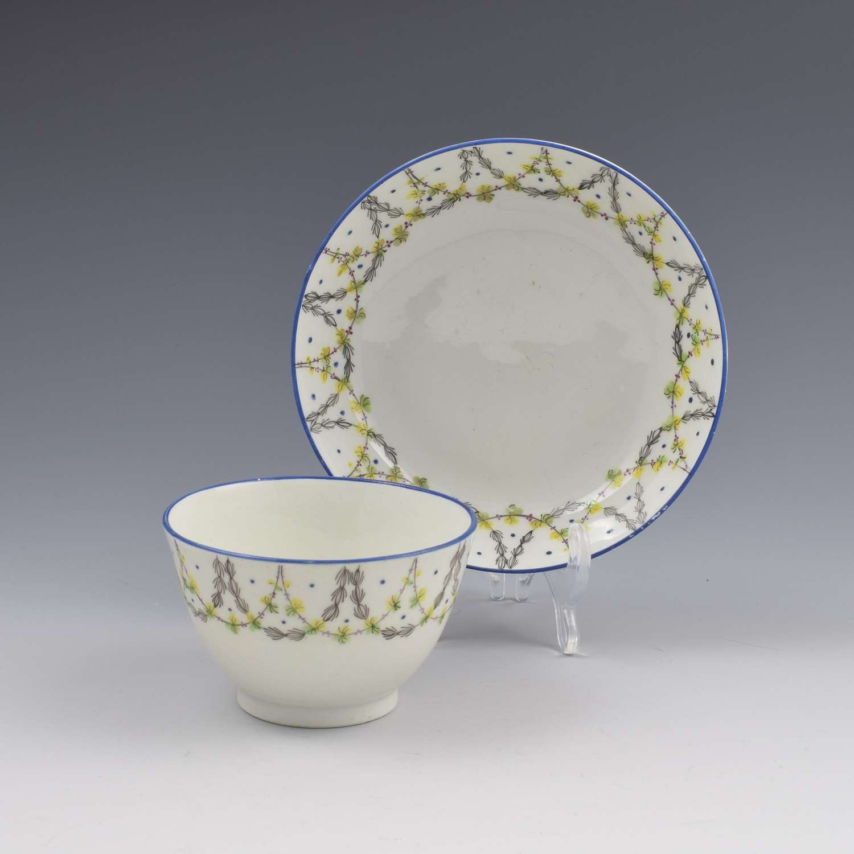 New Hall Porcelain Tea Bowl & Saucer Pattern No. 415 c.1800