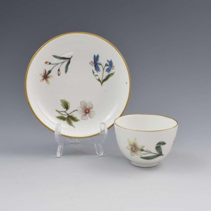 Meissen Botanical Woodcut Holzschnittblumen Tea Bowl & Saucer c.1740