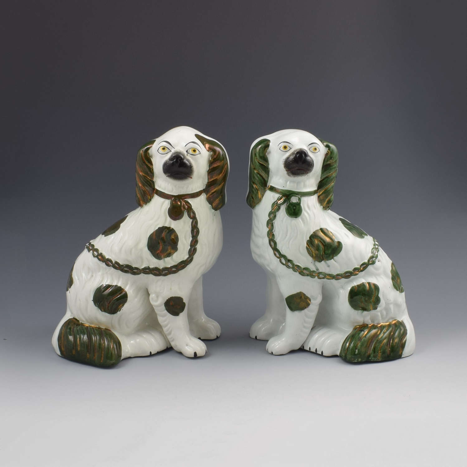 Pair Of Copper Lustre Staffordshire Spaniel Dogs c.1890