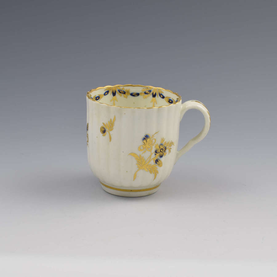First Period Worcester Porcelain Fluted Coffee Cup c.1775