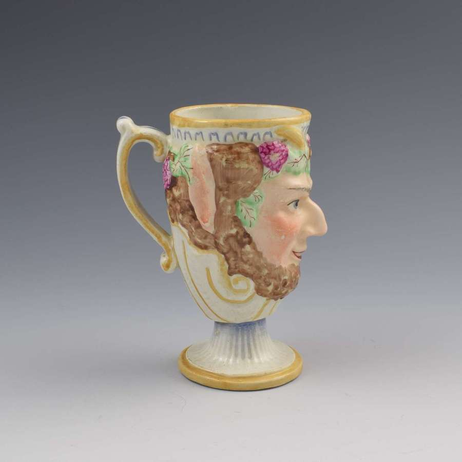 Staffordshire Pottery Bacchus Satyr Frog Mug c.1810