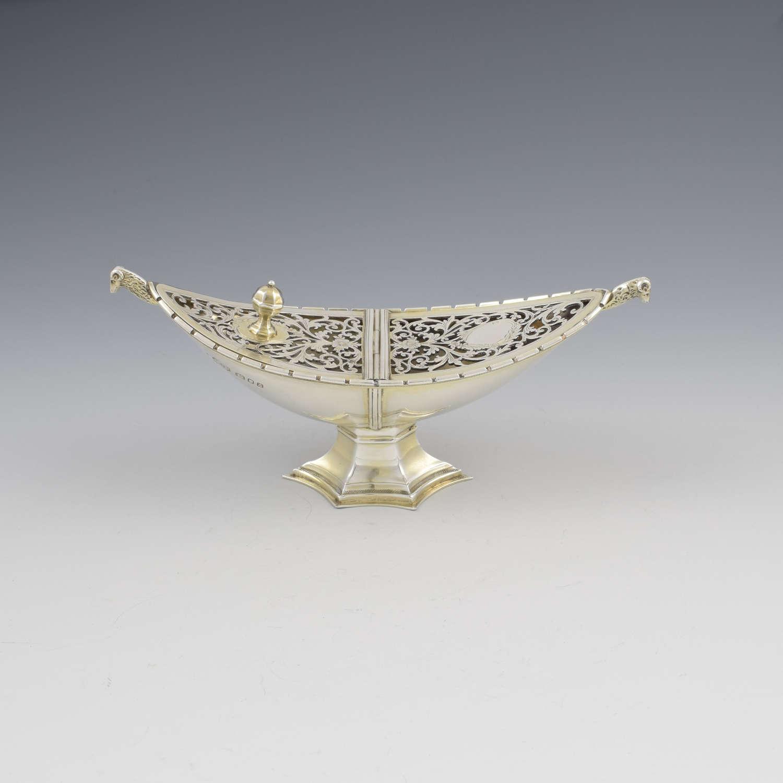 Unusual Art Deco Silver Pot Pourri After Ramsey Abbey Incense Boat