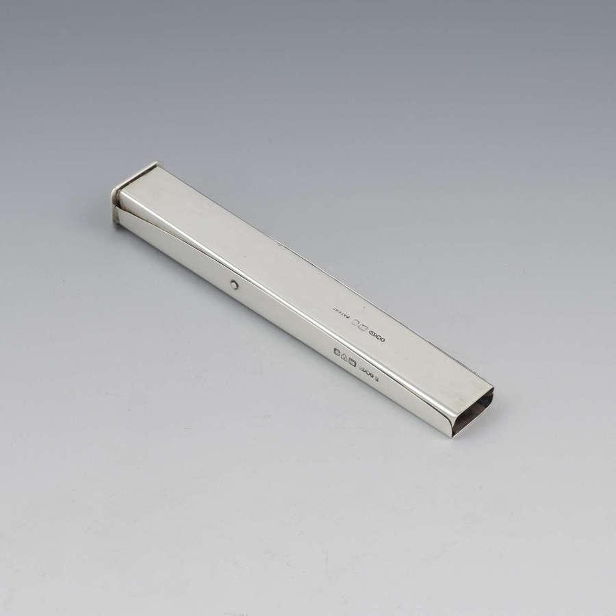 Edwardian Silver Sealing Wax Holder & Seal Chester Sampson Mordan & Co