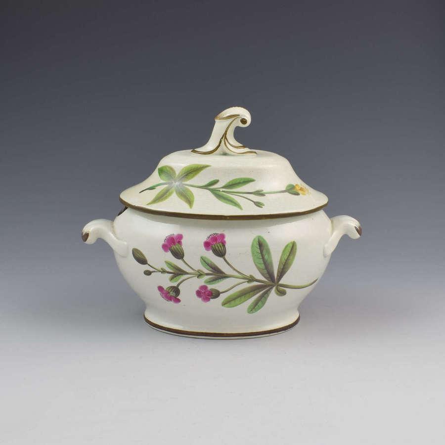 Swansea Pearlware Botanical Sauce Tureen C.1810 B