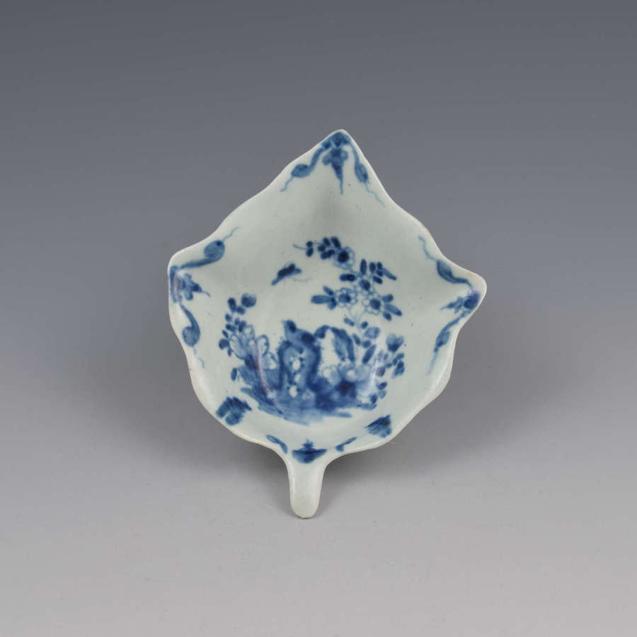 First Period Worcester Porcelain Two Peony Rock Bird Pickle Leaf Dish