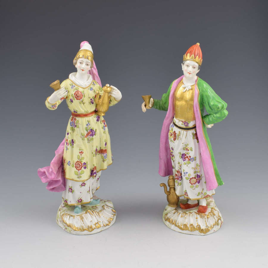 Pair Of Samson Porcelain Figures Of Ottomans / Turks After Meissen