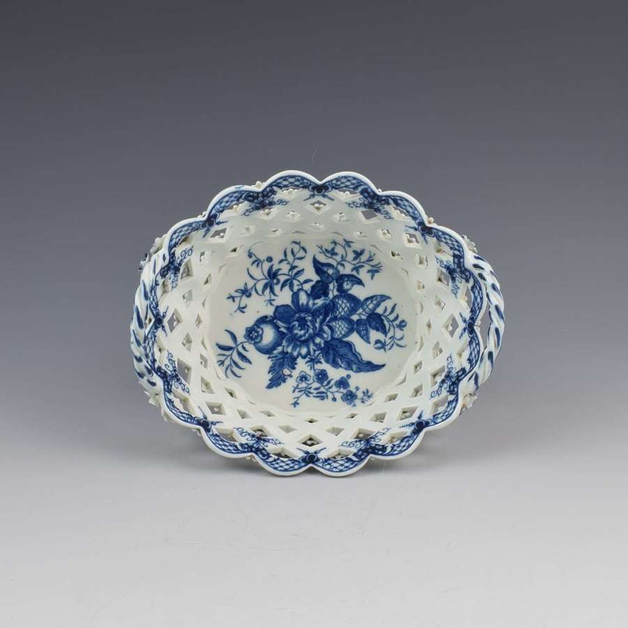 First Period Worcester Porcelain Pine Cone Basket c.1770