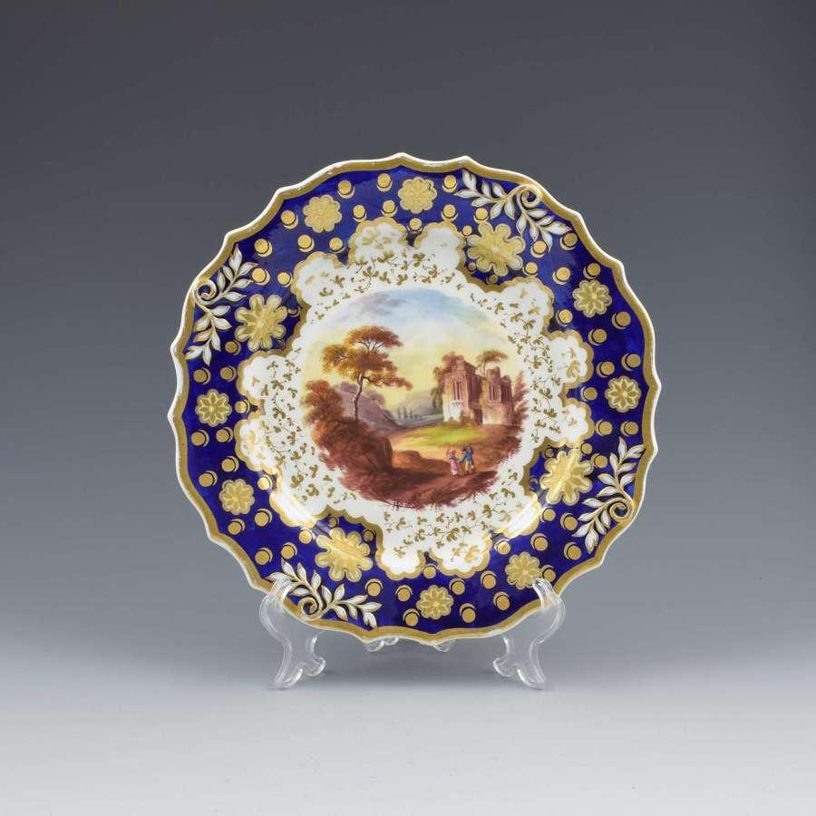 Regency Ridgway Porcelain Loop Sprigged Landscape Dessert Plate 941