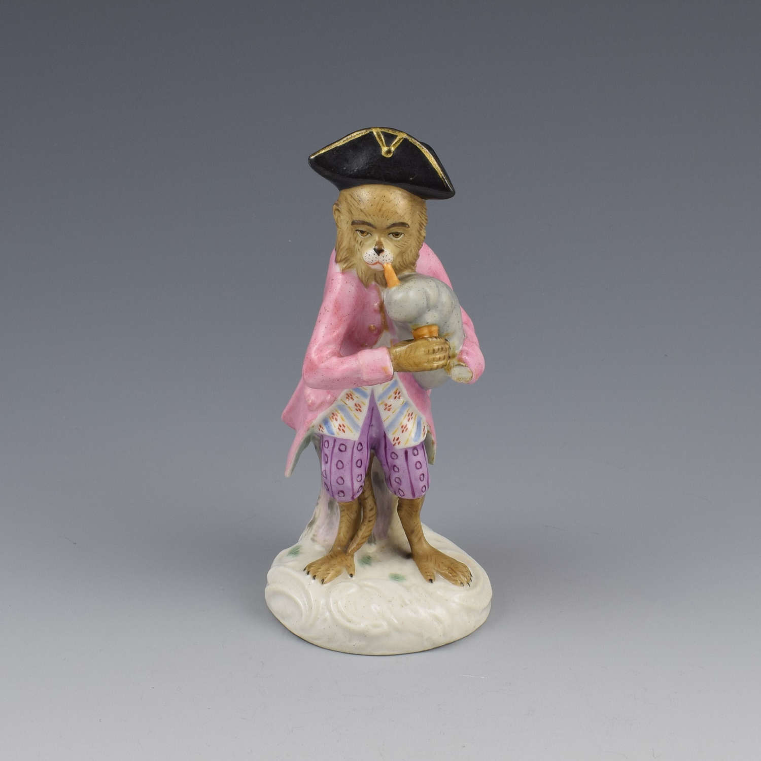 Dresden Porcelain Monkey Band Figure Bagpipes Player