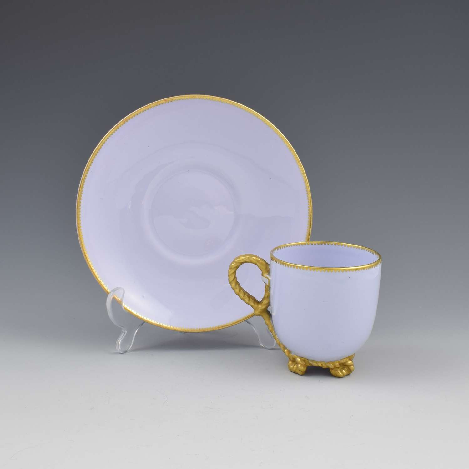 Victorian Brown Westhead & Moore Lilac Rope Twist Cup & Saucer 2