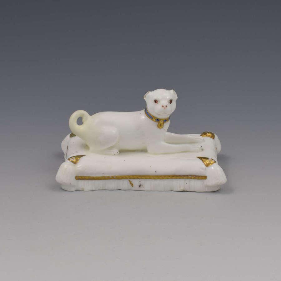 Minton Porcelain Figure Recumbent Pug On Cushion c.1831-1840