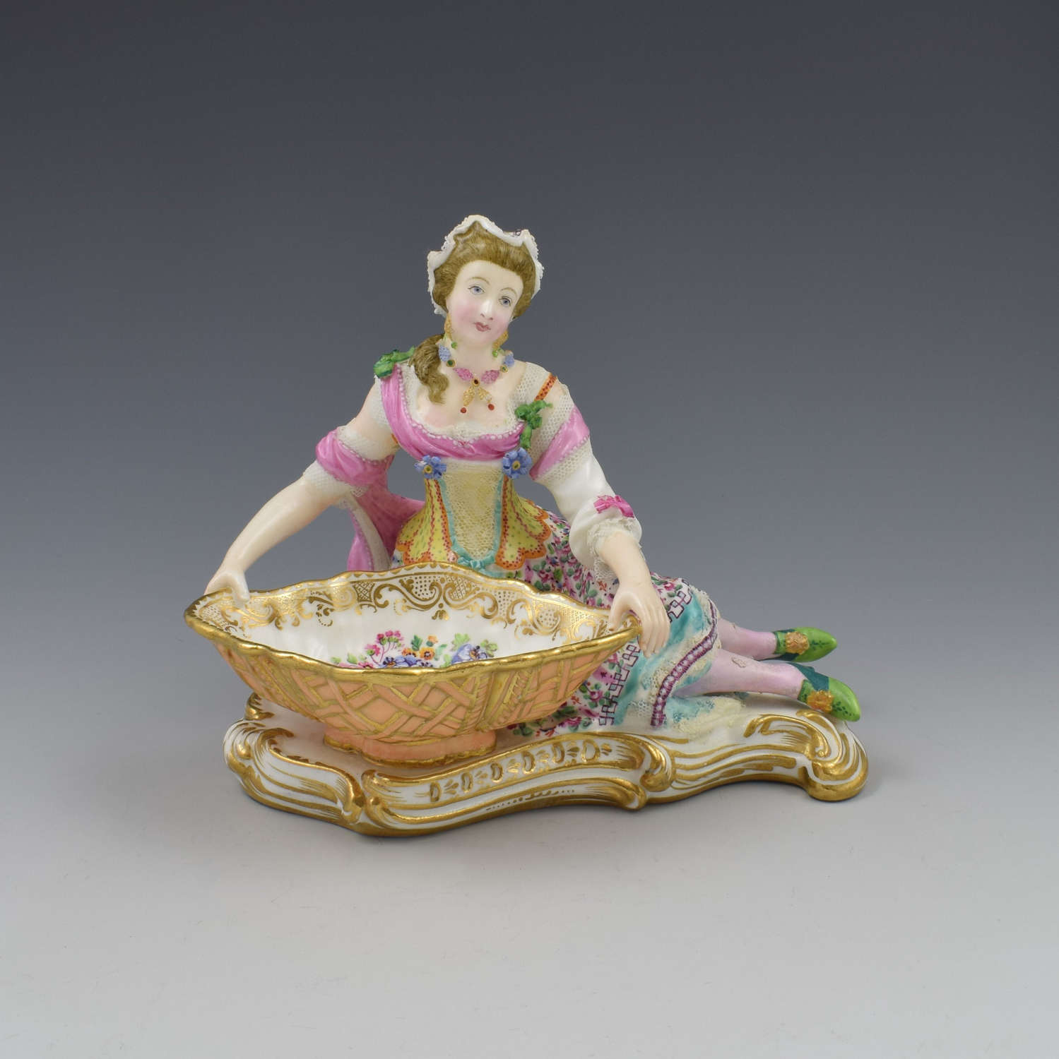 Minton Porcelain Figure With Lace Reclining Lady With Sweetmeat Basket