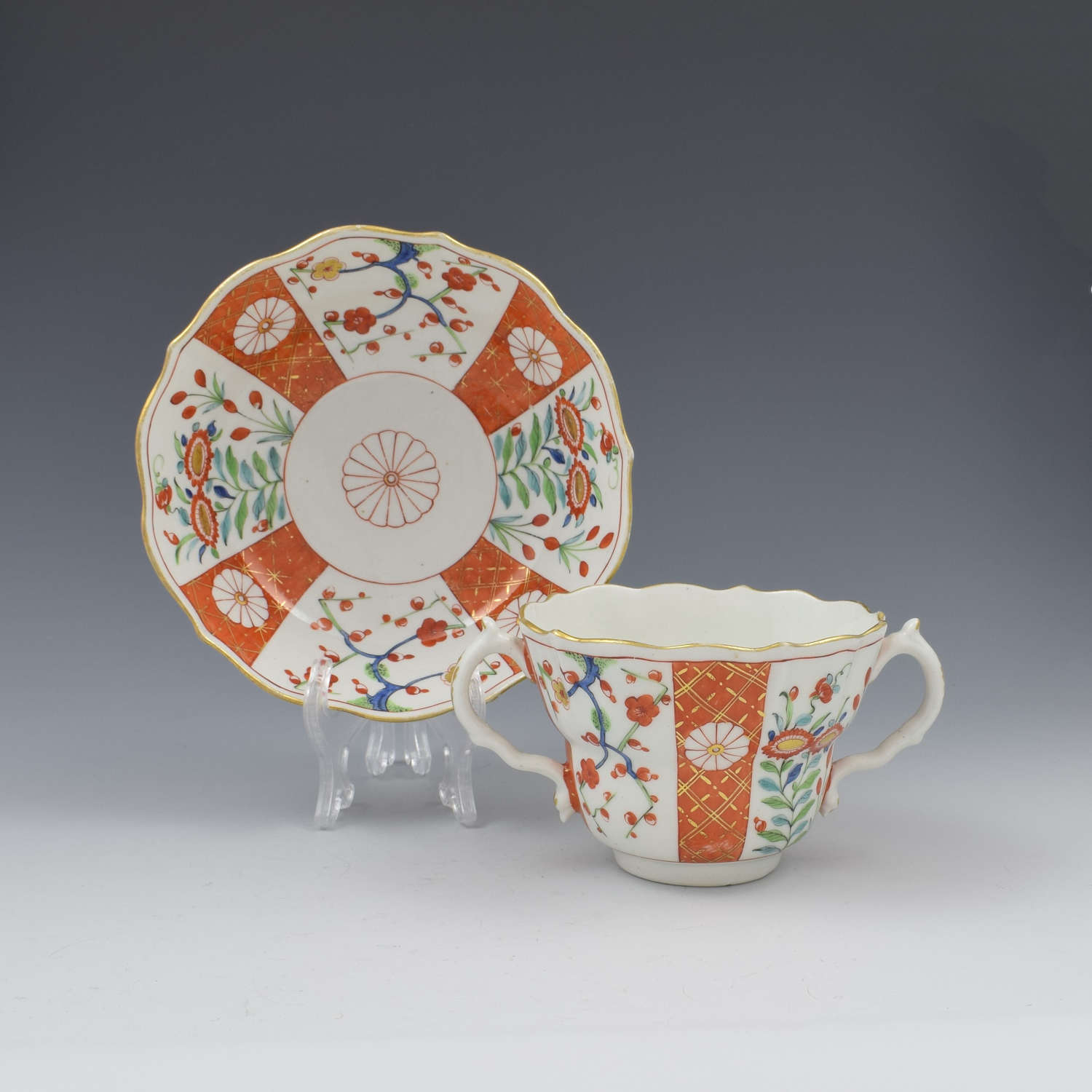 First Period Worcester Porcelain Scarlet Japan Chocolate Cup & Stand