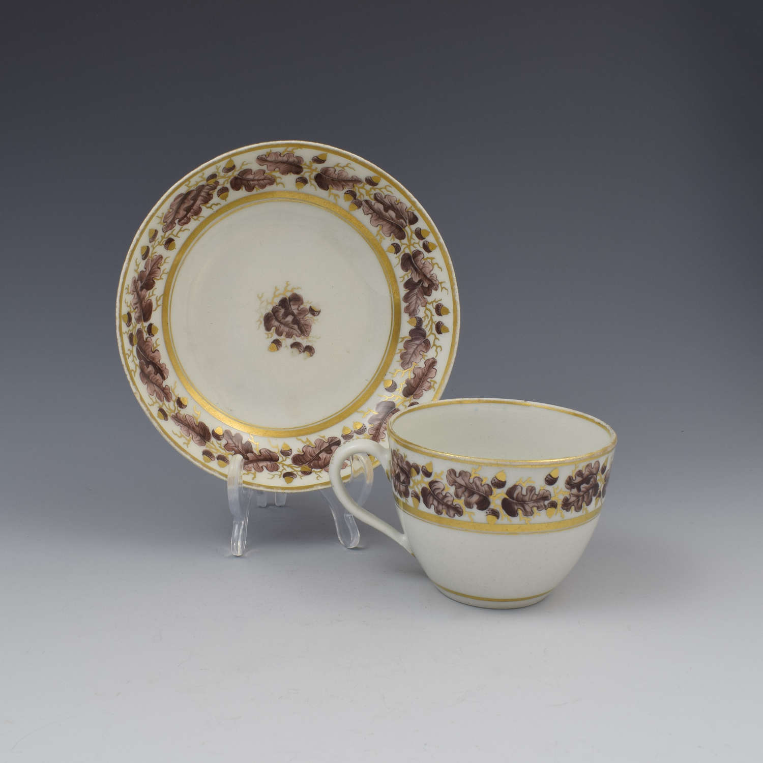 New Hall Porcelain Bute Cup & Saucer Pattern 302 Oak Leaves c.1800