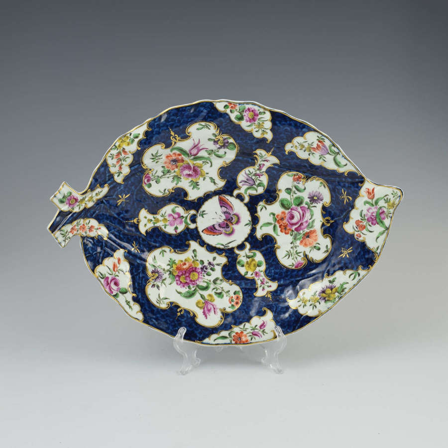 First Period Worcester Porcelain Large Blue Scale Leaf Dish c.1770