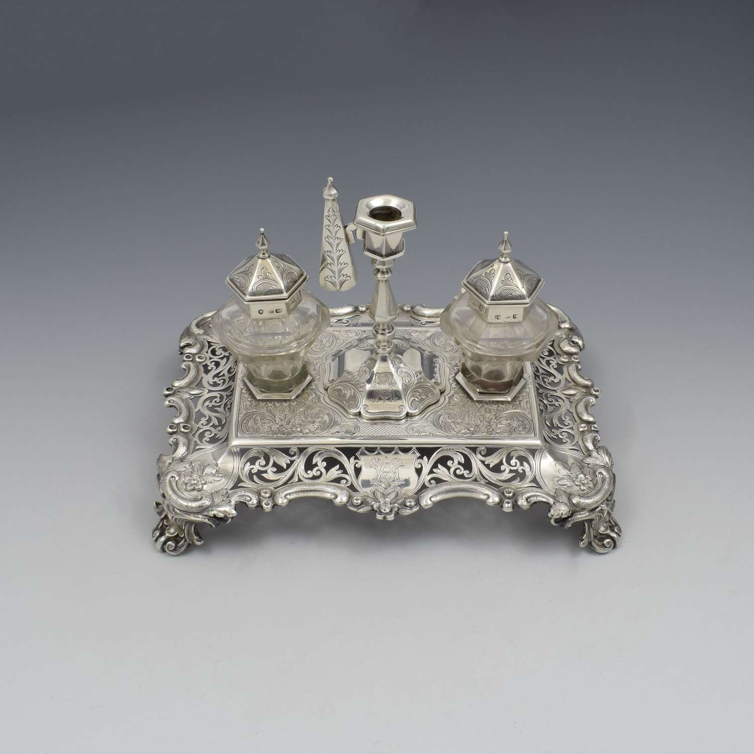 Antique Victorian Silver Double Inkstand With Taperstick & Stamp Box
