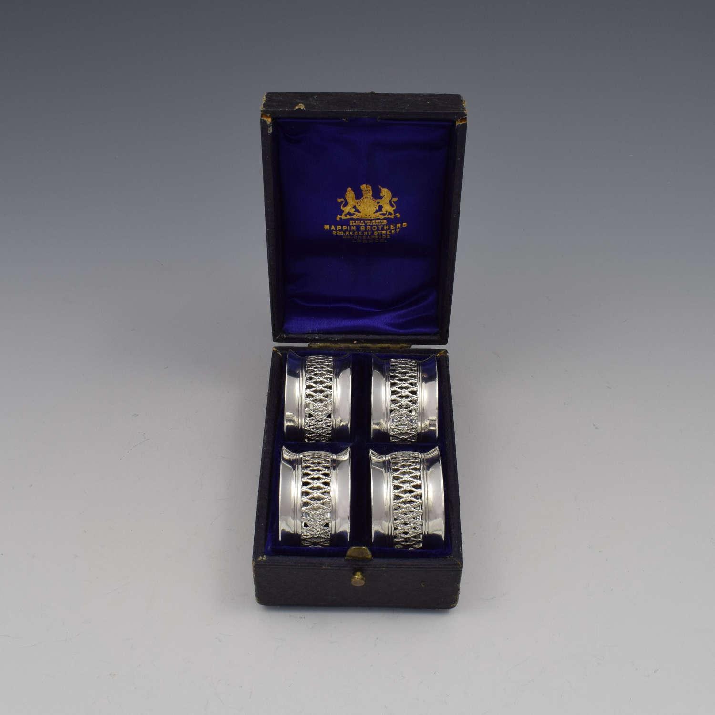 Cased Set 4 Victorian Silver Napkin Rings Nautical / Fishing Theme