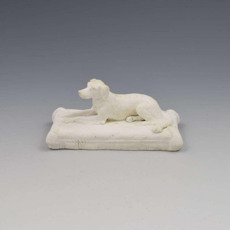 Minton Parian Biscuit Figure Of A Recumbent Setter Dog Ex. D. G. Rice