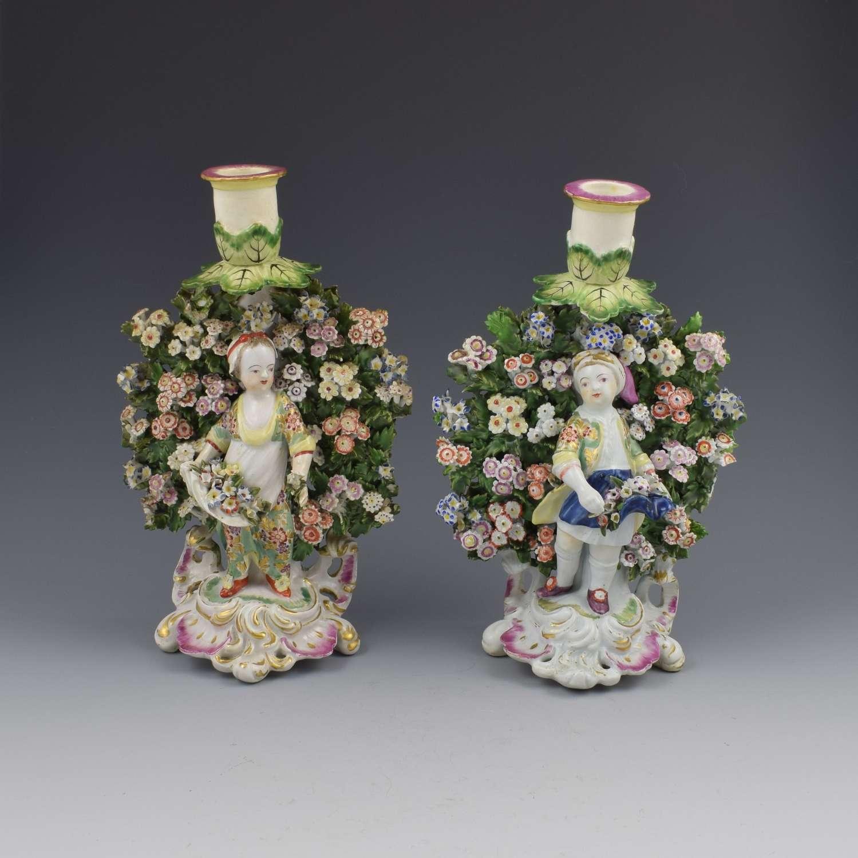 Derby Porcelain Pair Bocage Candlestick Figures Children Gardeners