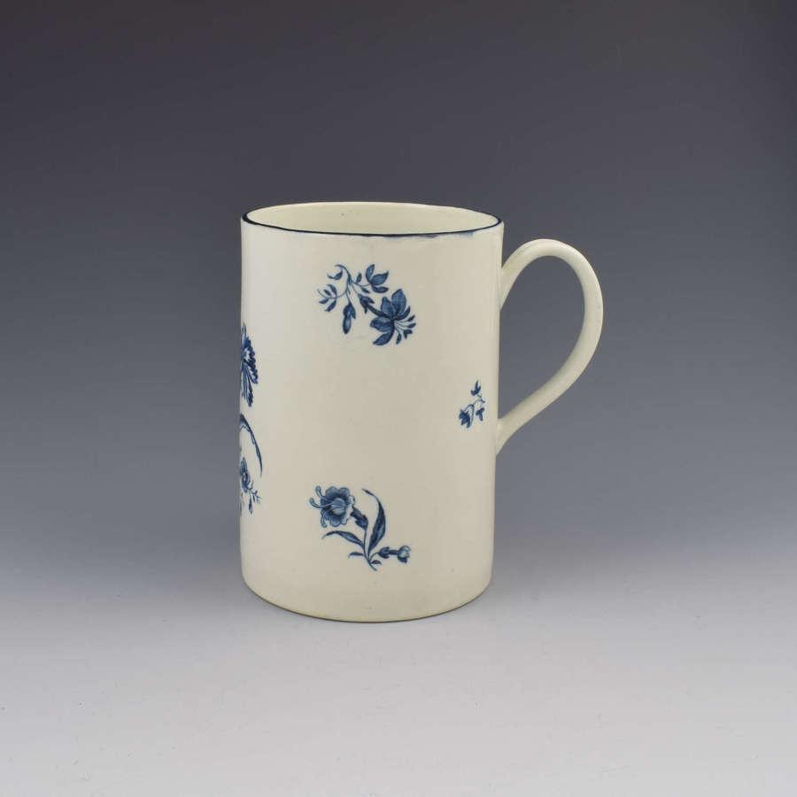First Period Worcester Porcelain Large Beer Mug / Tankard Gilliflower