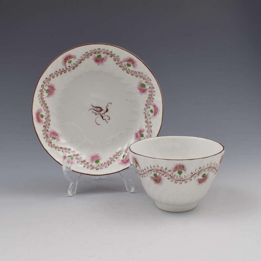 Pretty Chamberlain Worcester Porcelain Tea Bowl & Saucer c.1795