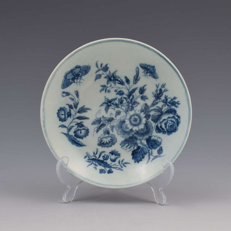 First Period Worcester Porcelain Three Flowers Pattern Saucer c.1770