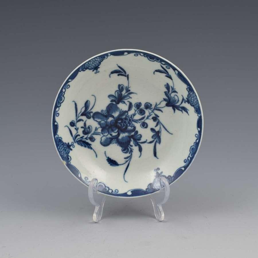 First Period Worcester Porcelain Mansfield Pattern Saucer c.1770
