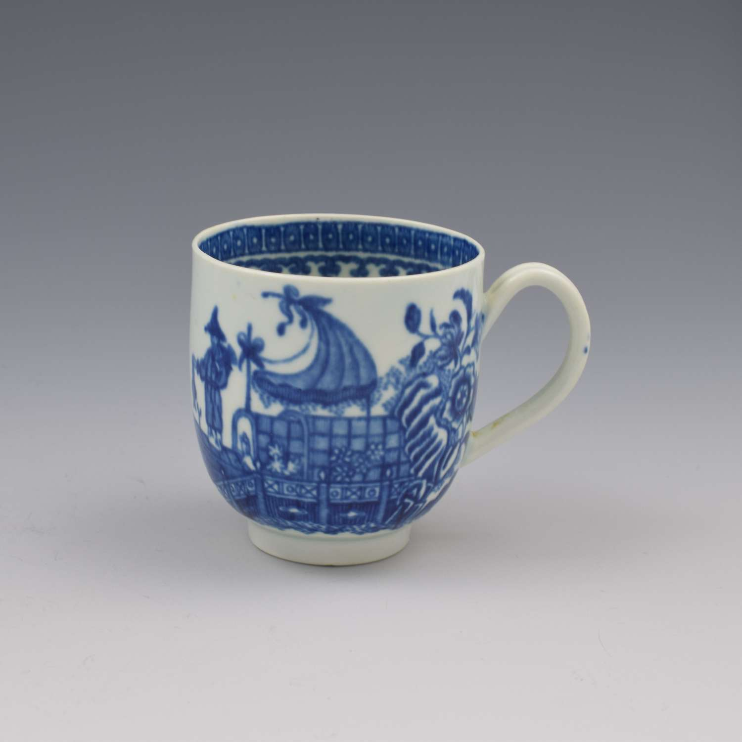 First Period Worcester Porcelain Fisherman Coffee Cup c.1775 1