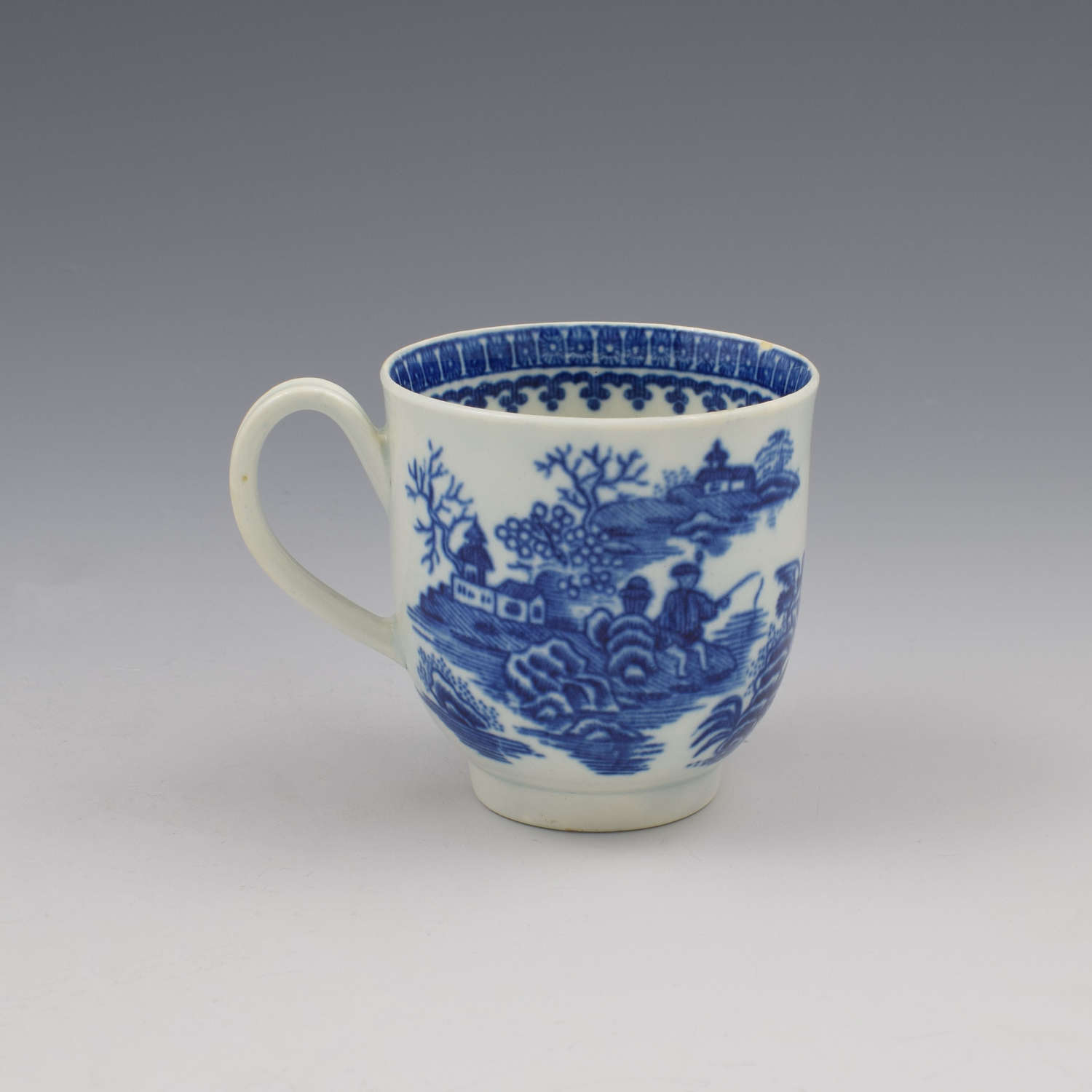 First Period Worcester Porcelain Fisherman Coffee Cup c.1775 2