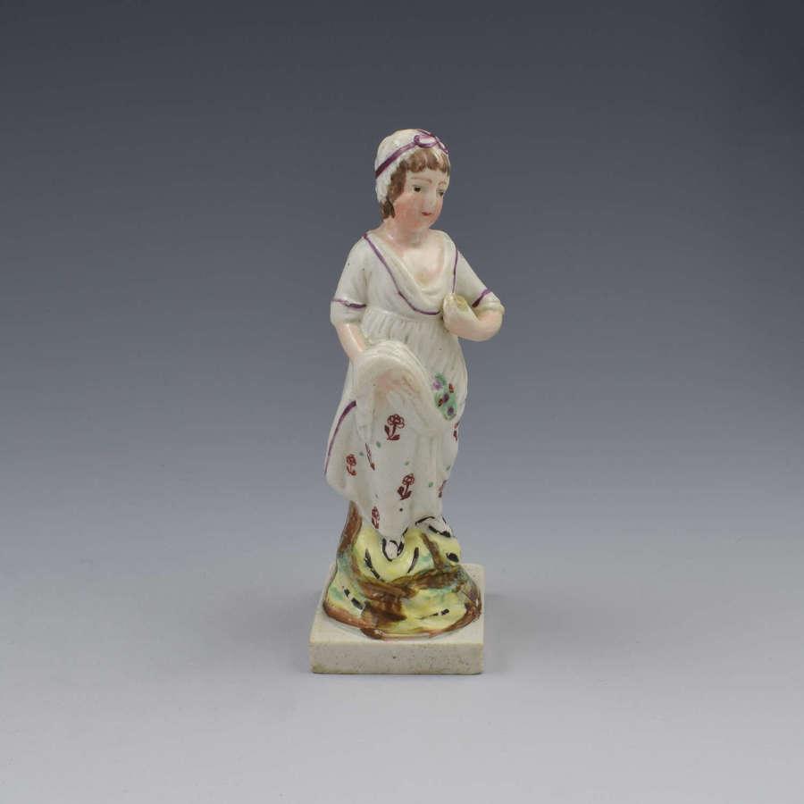Staffordshire Pearlware Pottery Figure Girl Flower Seller c.1810
