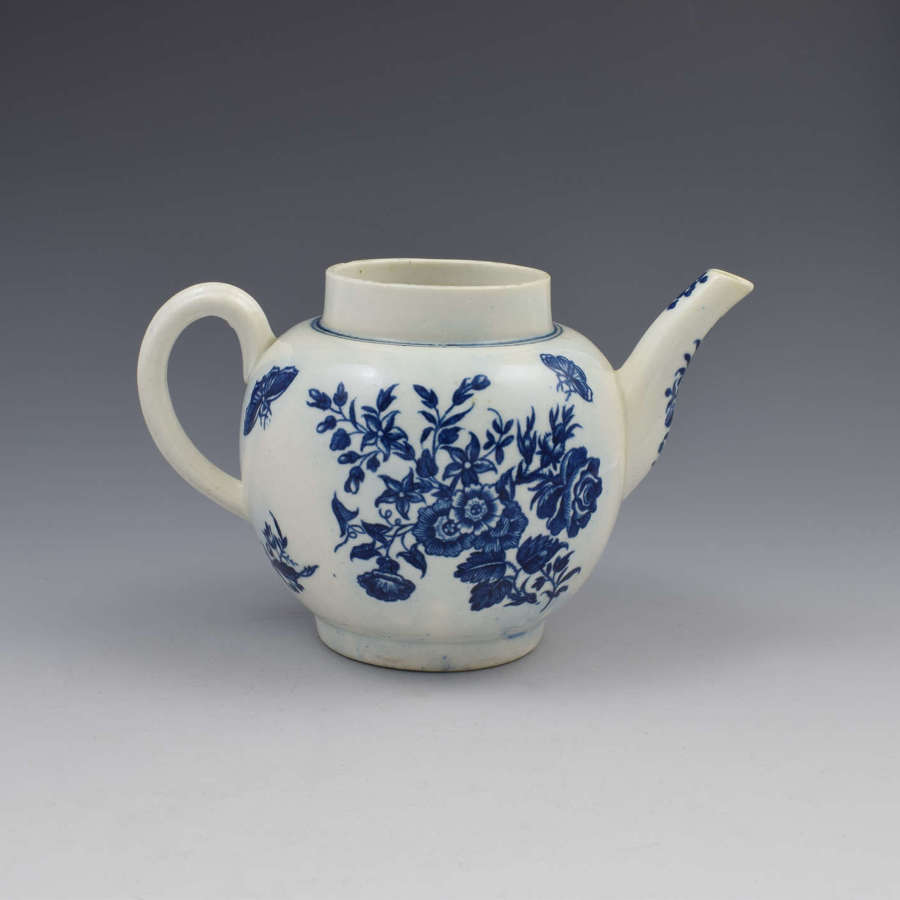 First Period Worcester Porcelain Three Flowers Teapot c.1770