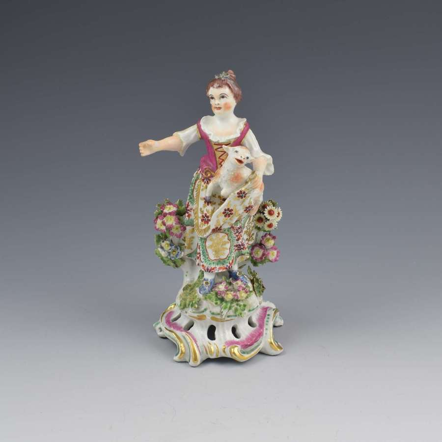 Bow Porcelain Figure Girl Shepherdess With Lamb In Apron c.1762-1764