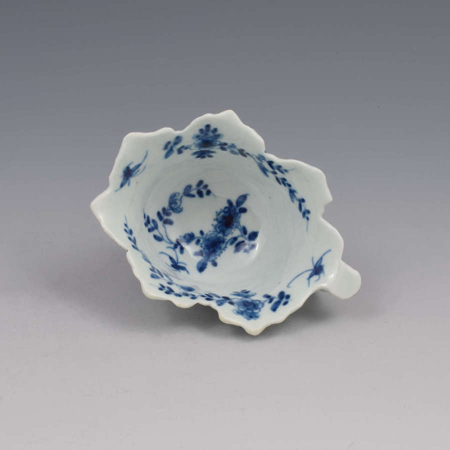 First Period Worcester Porcelain Butter Boat Pickle Leaf Daisy c.1758