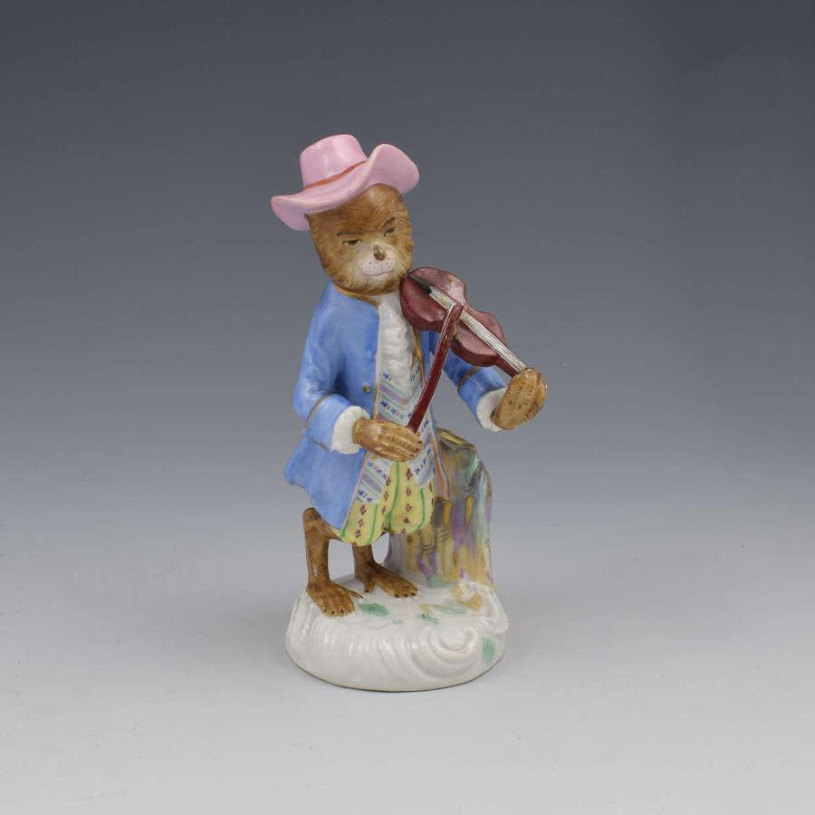 Dresden Porcelain Monkey Band Figure Violin Player