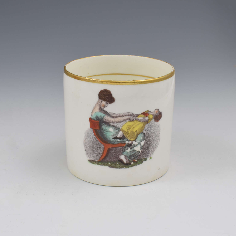 Georgian Machin Bone China Adam Buck Style Coffee Can c.1810 1