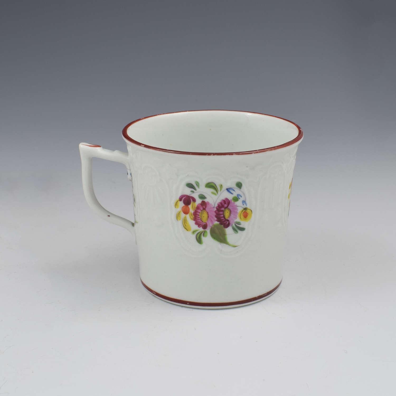 Coalport Porcelain Dulong Blind Moulded Floral Coffee Can c.1815