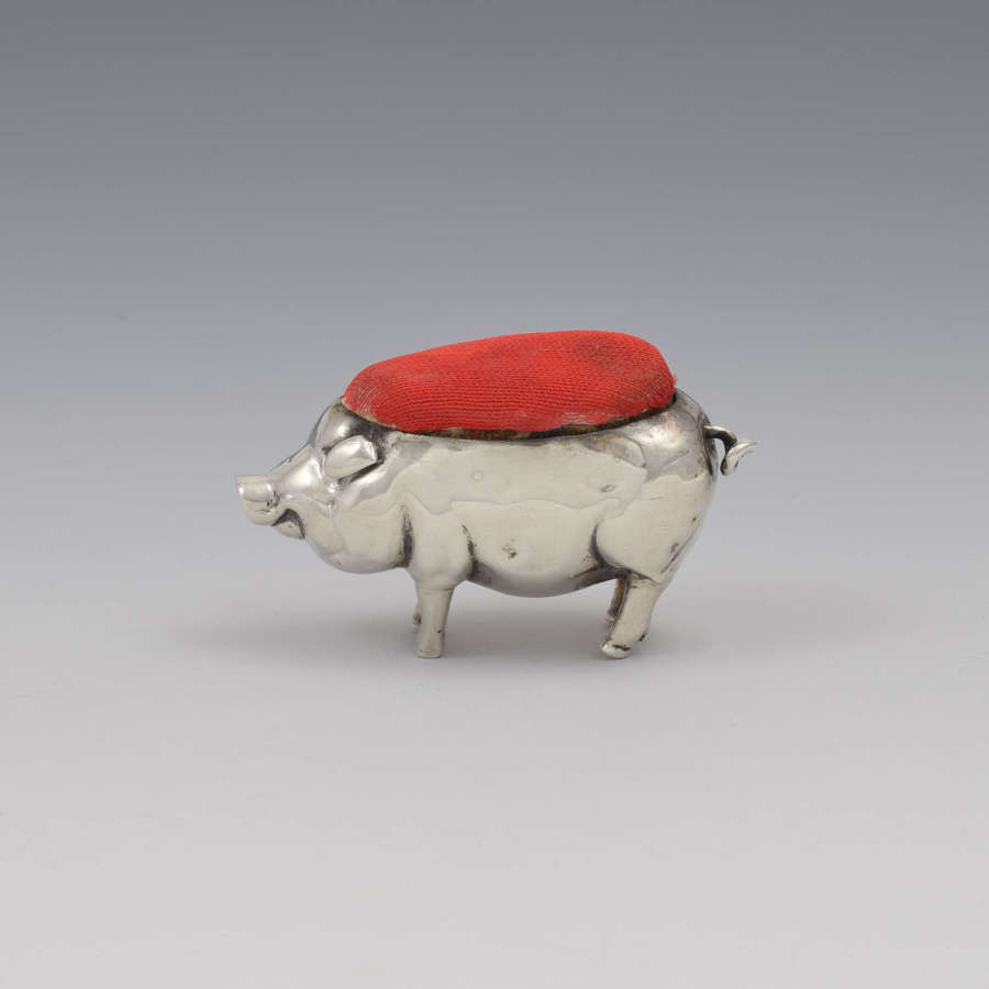 Edwardian Novelty Silver Pig Pin Cushion Henry Matthews 1903