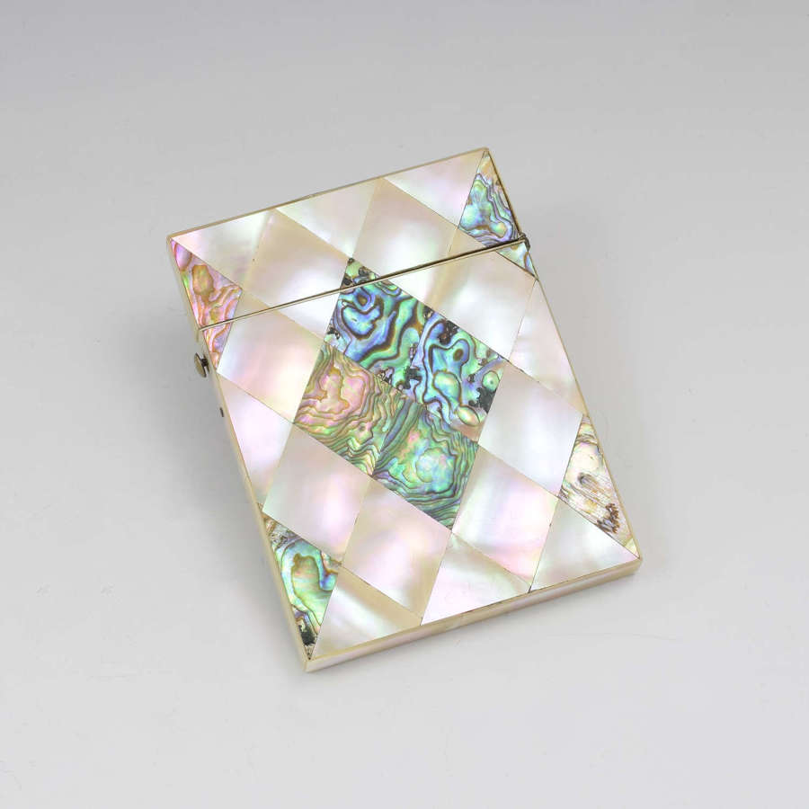 Victorian Mother Of Pearl & Abalone Visiting Card Case