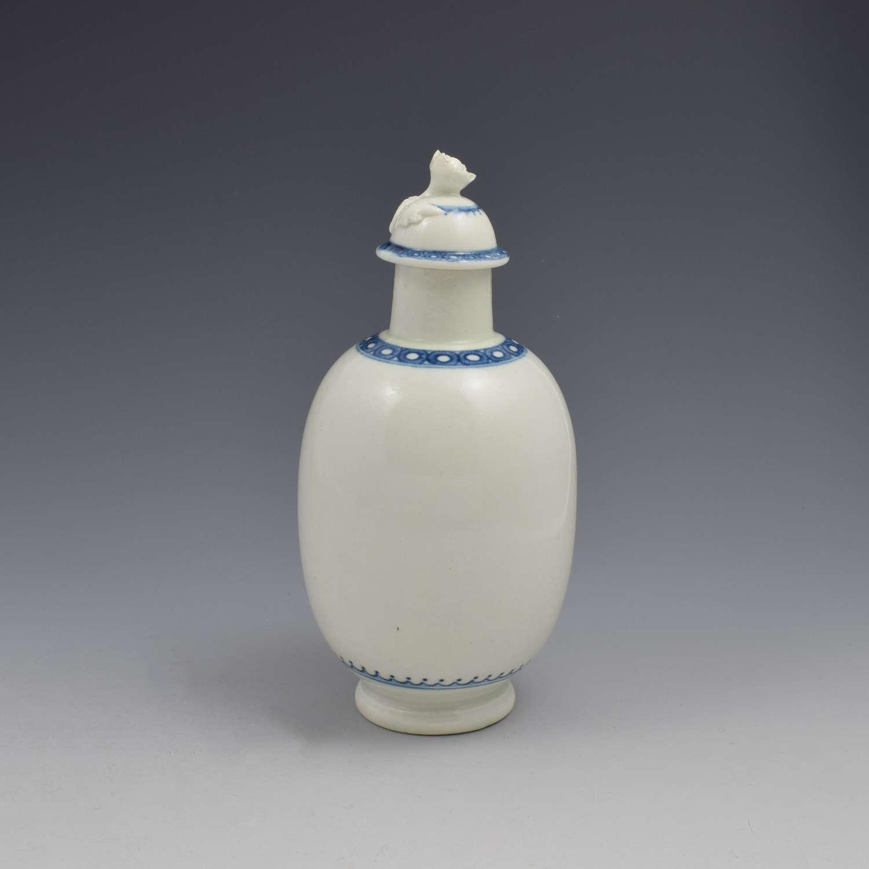 First Period Worcester Porcelain Tea Canister Ex-Zorensky