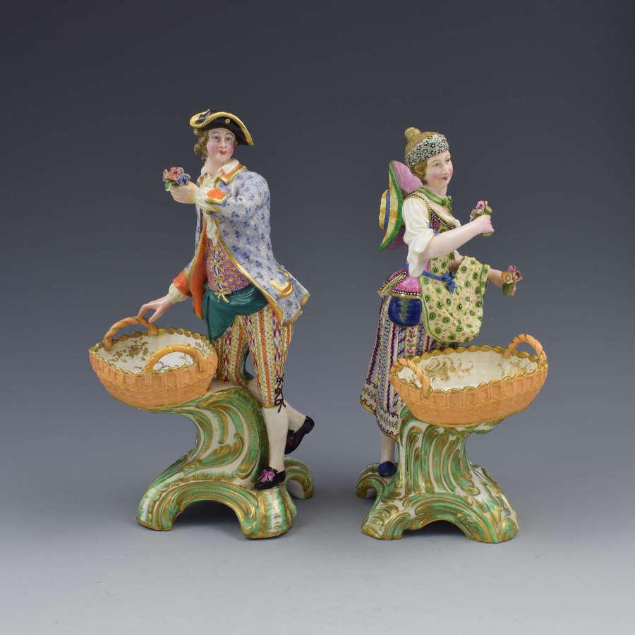 Fine Pair Minton Porcelain Sweetmeat Figures With Baskets Models 84 85