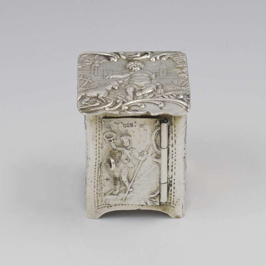 Continental Novelty Silver Miniature Furniture Cupboard Cabinet
