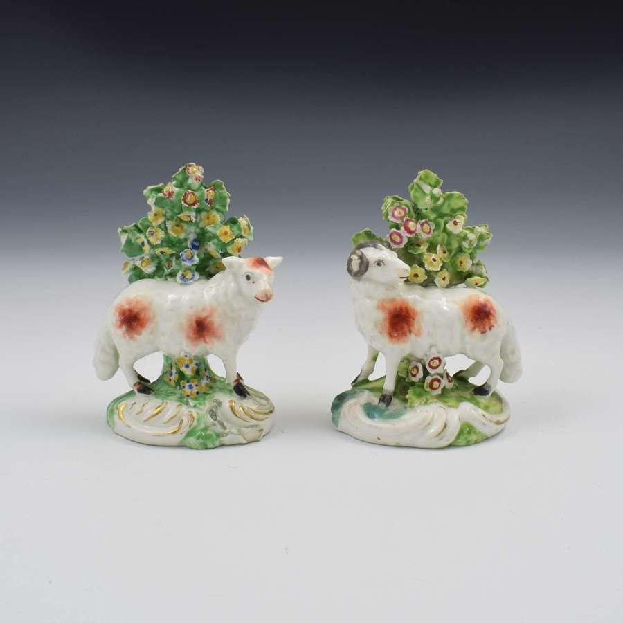 Pair Derby Porcelain Bocage Figures Of Sheep, Ram & Ewe, c.1770
