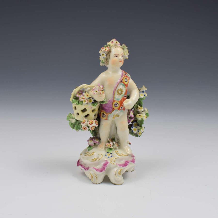 Derby Porcelain Figure Putto On Scrolled Base c.1765