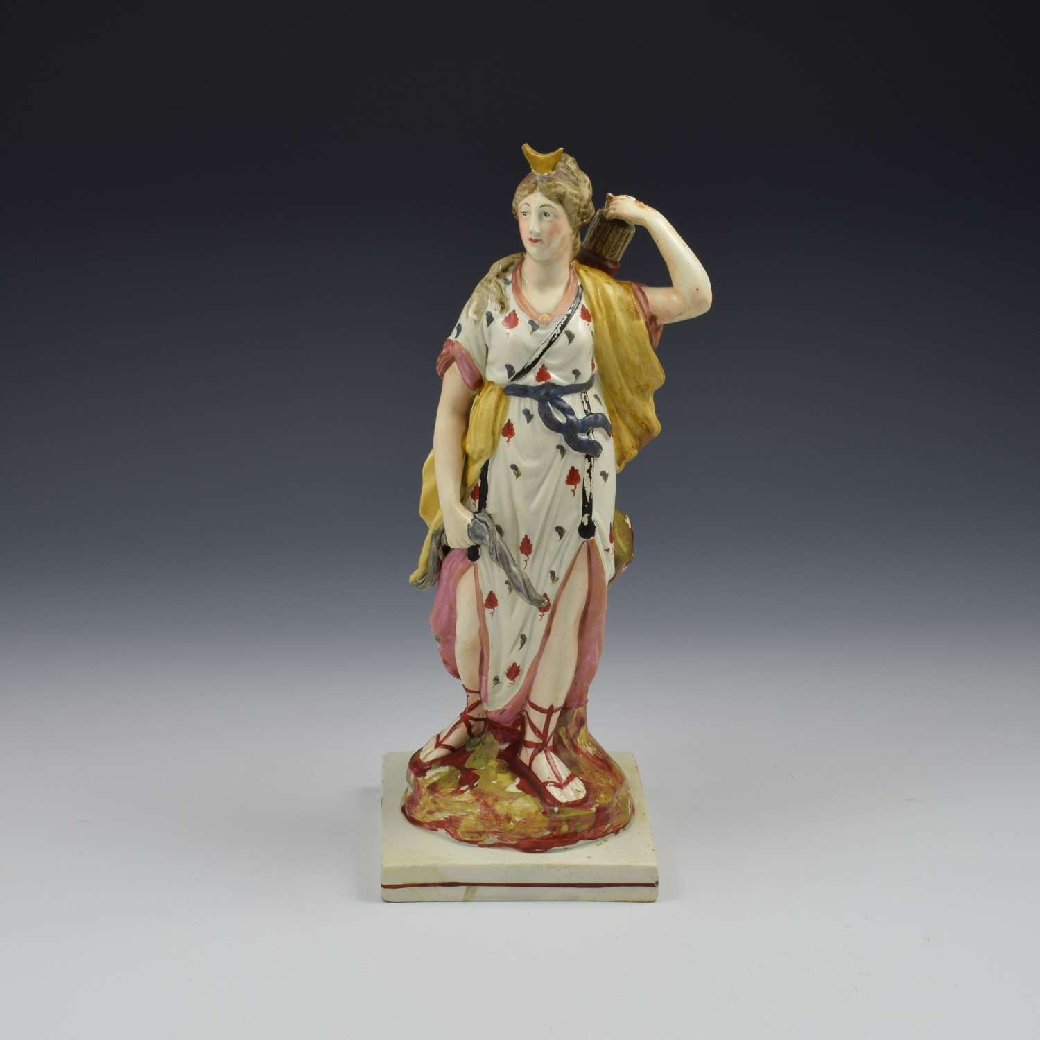 Large Staffordshire Pottery Pearlware Figure Of Diana c.1820