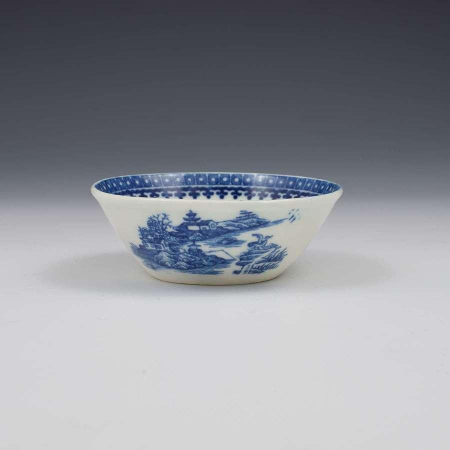 Rare Caughley Porcelain Fisherman Pattern Patty / Tart Pan c.1780-1790