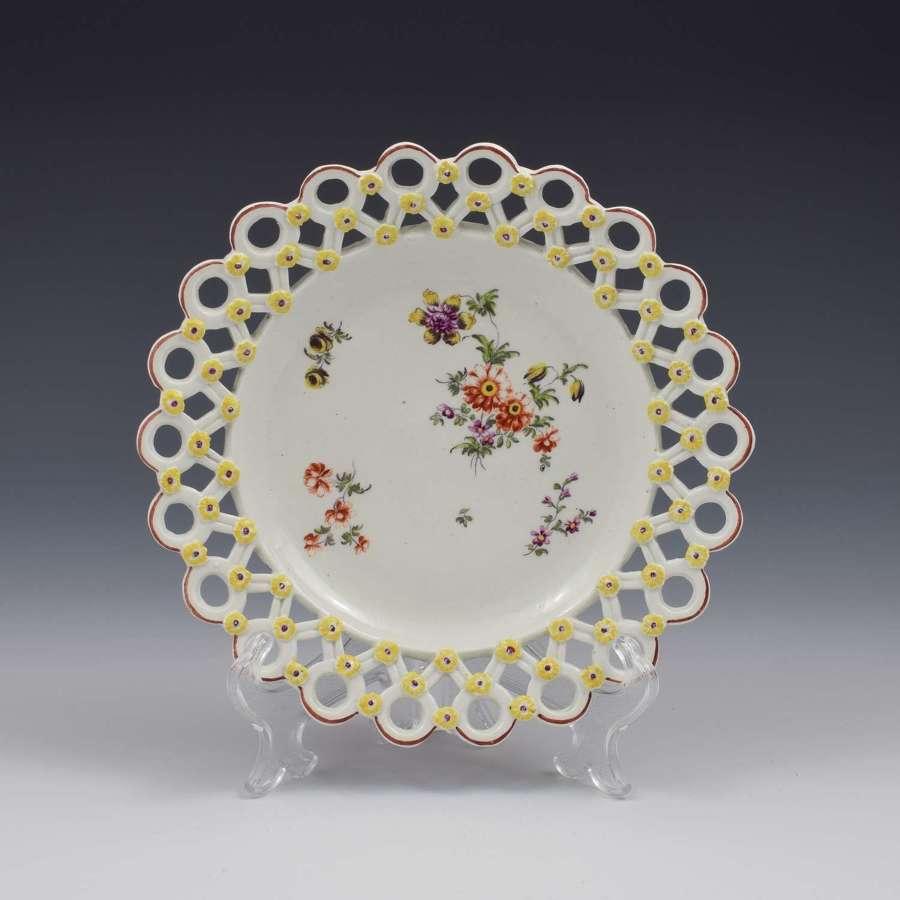 Derby Porcelain Cotton Stem Painter Spectacle Plate c.1760