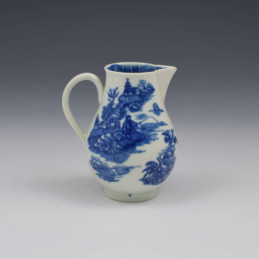 First Period Worcester Porcelain Cream Jug Fisherman Pattern c.1775