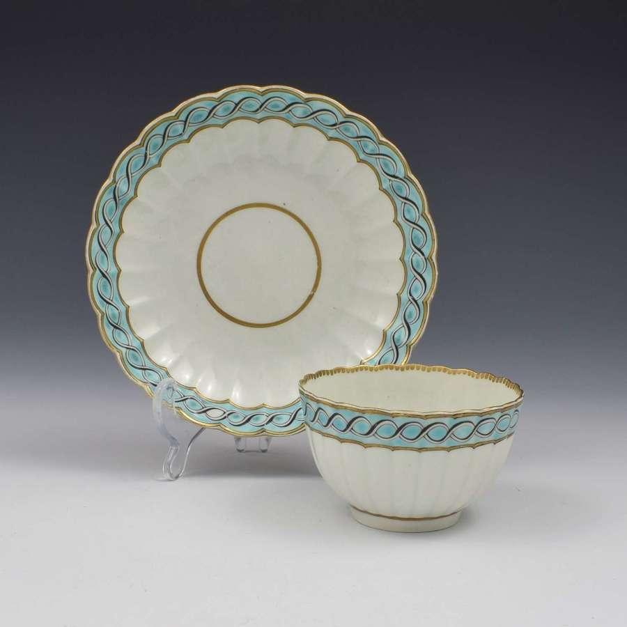 First Period Worcester Porcelain Fluted Tea Bowl & Saucer c.1770