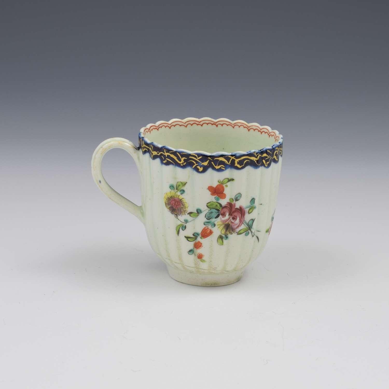 Pennington Liverpool Porcelain Fluted Polychrome Coffee Cup c.1770