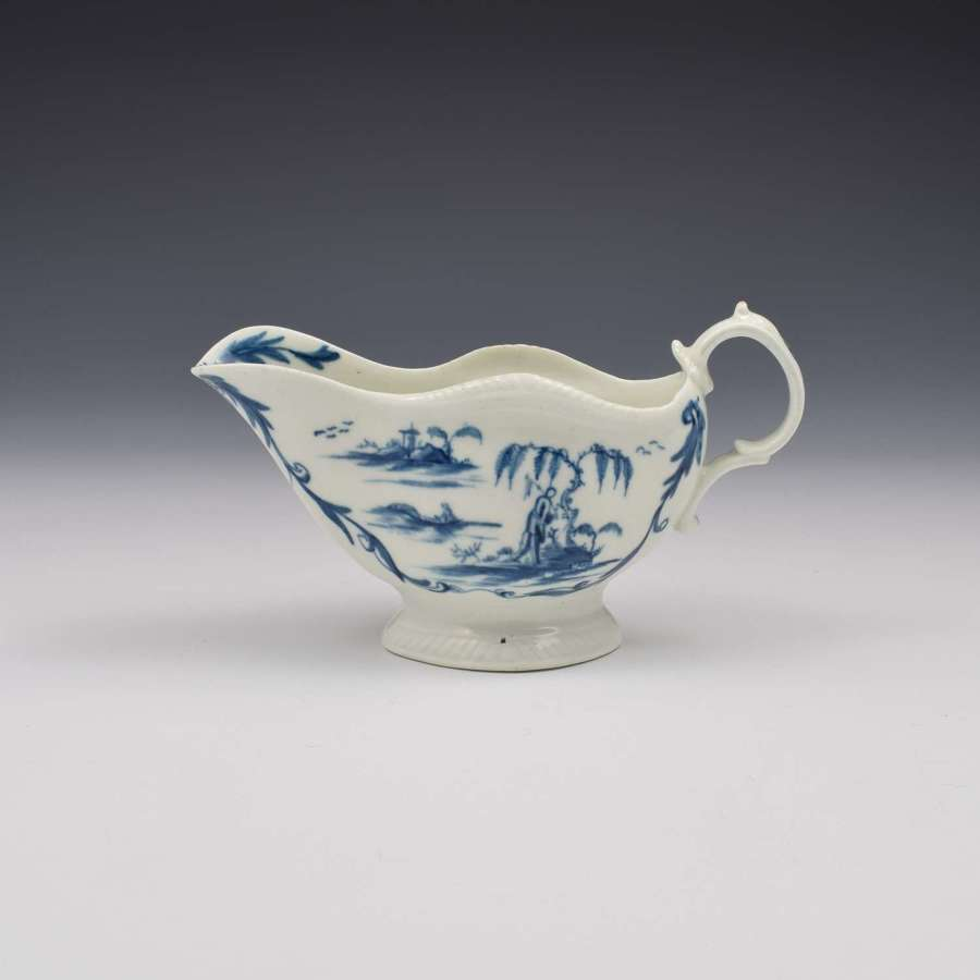 Rare First Period Worcester One Porter Landscape Pattern Sauce Boat